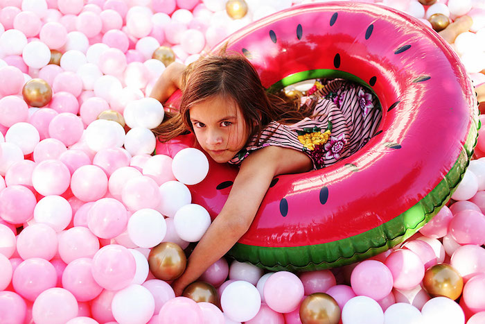 Pink Ball Pit from a 7th Heaven Birthday Party on Kara's Party Ideas | KarasPartyIdeas.com (15)