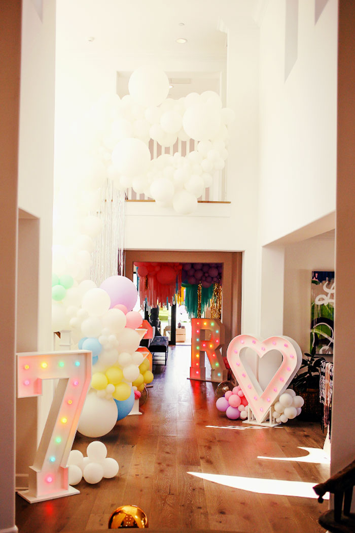 Marquee Light & Balloon Party Entrance from a 7th Heaven Birthday Party on Kara's Party Ideas | KarasPartyIdeas.com (30)