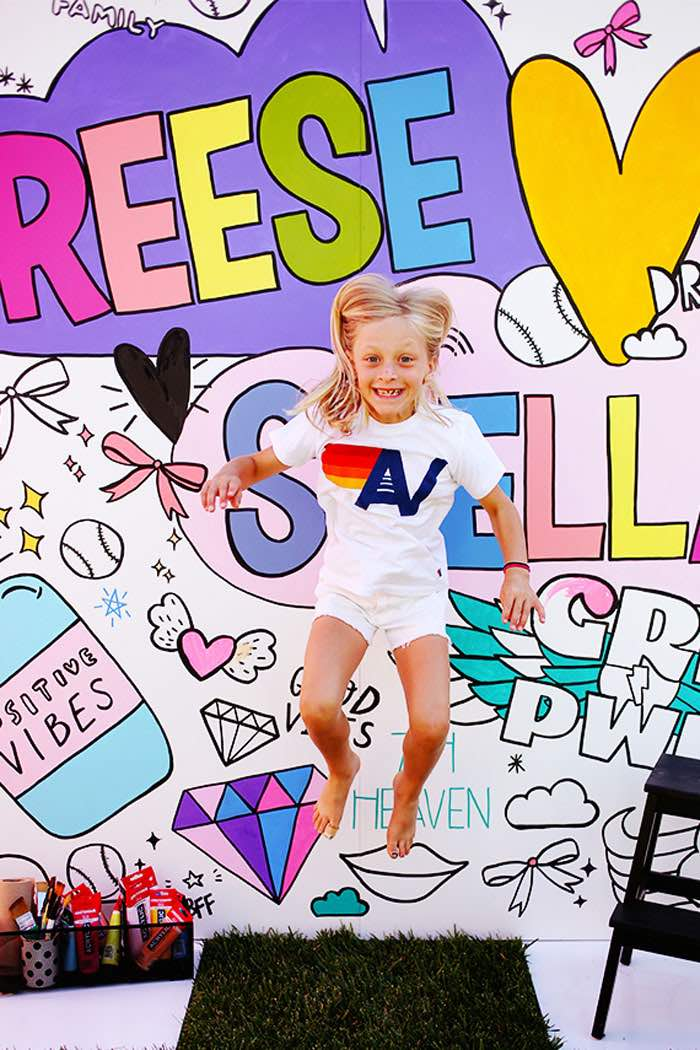 Girl Power Photo Backdrop from a 7th Heaven Birthday Party on Kara's Party Ideas | KarasPartyIdeas.com (7)