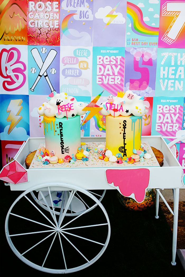 Cakes + Cake Cart from a 7th Heaven Birthday Party on Kara's Party Ideas | KarasPartyIdeas.com (6)