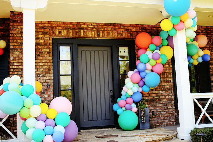 Rainbow Balloon Garlands + Party Entrance from a 7th Heaven Birthday Party on Kara's Party Ideas | KarasPartyIdeas.com (29)