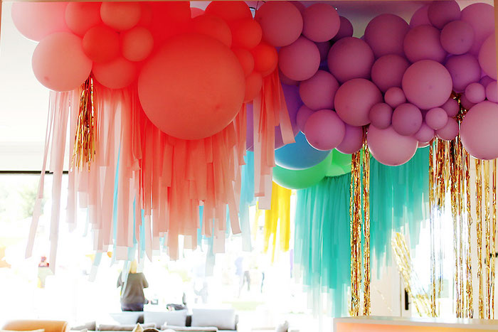 Balloon Curtain from a 7th Heaven Birthday Party on Kara's Party Ideas | KarasPartyIdeas.com (28)