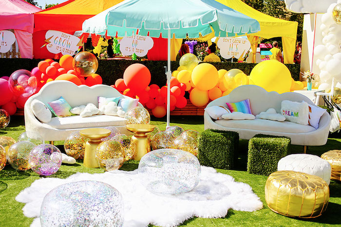 Rainbow Lounge from a 7th Heaven Birthday Party on Kara's Party Ideas | KarasPartyIdeas.com (26)