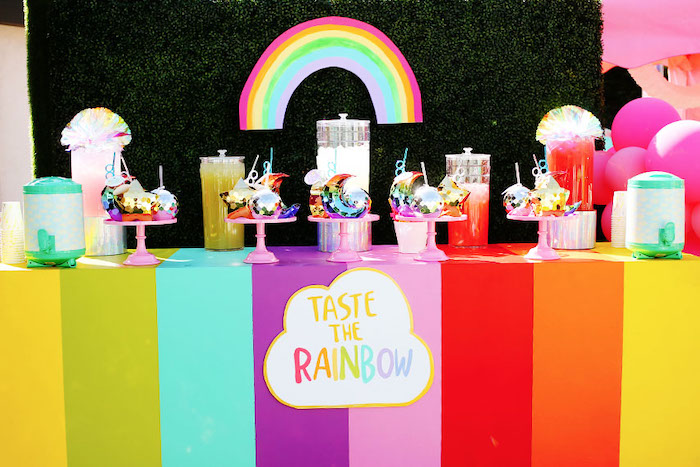 Rainbow Tasting Station + Taste the Rainbow Beverage Bar from a 7th Heaven Birthday Party on Kara's Party Ideas | KarasPartyIdeas.com (23)