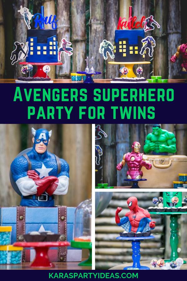 Avengers Superhero Birthday Party for Twins via Kara's Party Ideas - KarasPartyIdeas.com