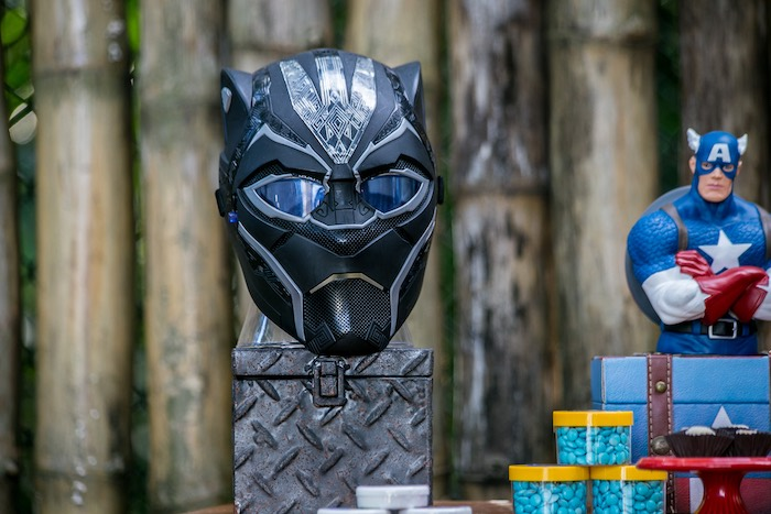 Black Panther Mask + Prop from an Avengers Superhero Party for Twins on Kara's Party Ideas   KarasPartyIdeas.com (14)