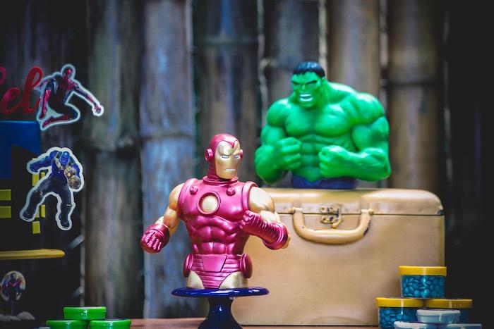 Iron Man & Hulk Figurines from an Avengers Superhero Party for Twins on Kara's Party Ideas   KarasPartyIdeas.com (20)