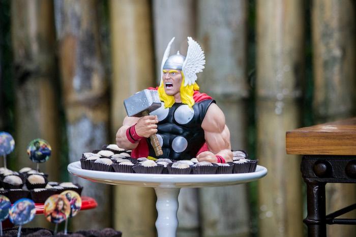 Thor Dessert Pedestal from an Avengers Superhero Party for Twins on Kara's Party Ideas   KarasPartyIdeas.com (19)
