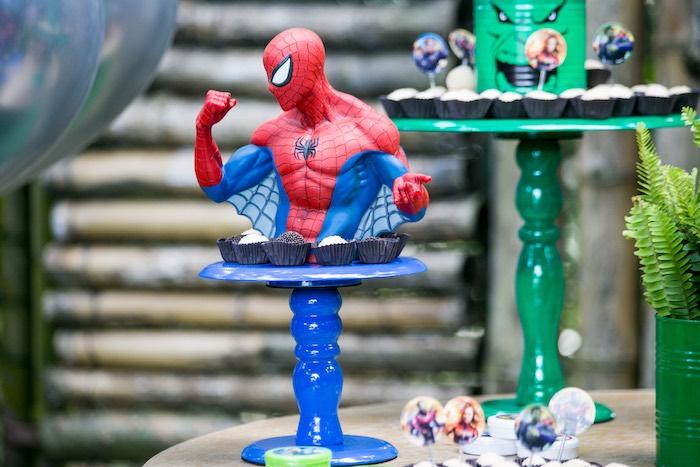 Spiderman Dessert Pedestal from an Avengers Superhero Party for Twins on Kara's Party Ideas   KarasPartyIdeas.com (18)