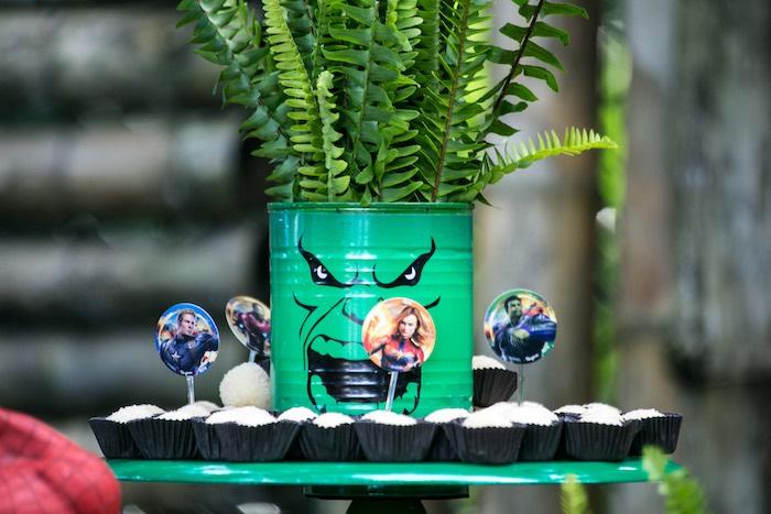 Incredible Hulk Can Planter + Dessert Pedestal from an Avengers Superhero Party for Twins on Kara's Party Ideas   KarasPartyIdeas.com (16)