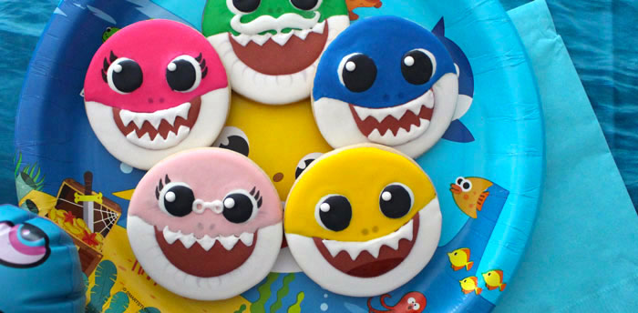 Baby Shark Sugar Cookies on Kara's Party Ideas | KarasPartyIdeas.com (4)