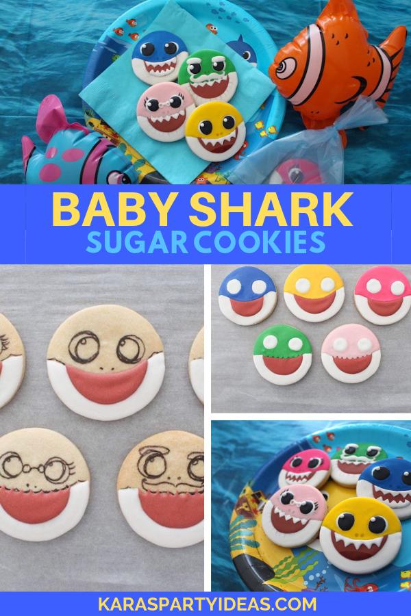 Baby Shark Sugar Cookies via Kara's Party Ideas - KarasPartyIdeas.com