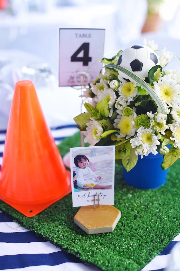 Floral Soccer Themed Table Centerpiece from a Backyard Soccer Birthday Party on Kara's Party Ideas | KarasPartyIdeas.com (9)
