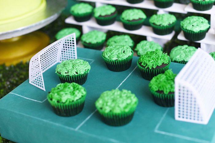 Soccer Field Cupcakes from a Backyard Soccer Birthday Party on Kara's Party Ideas | KarasPartyIdeas.com (8)