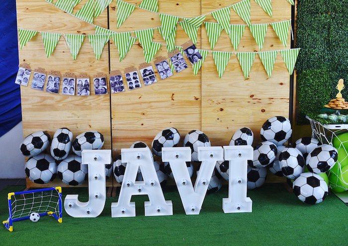 Soccer Themed Backdrop from a Backyard Soccer Birthday Party on Kara's Party Ideas | KarasPartyIdeas.com (4)