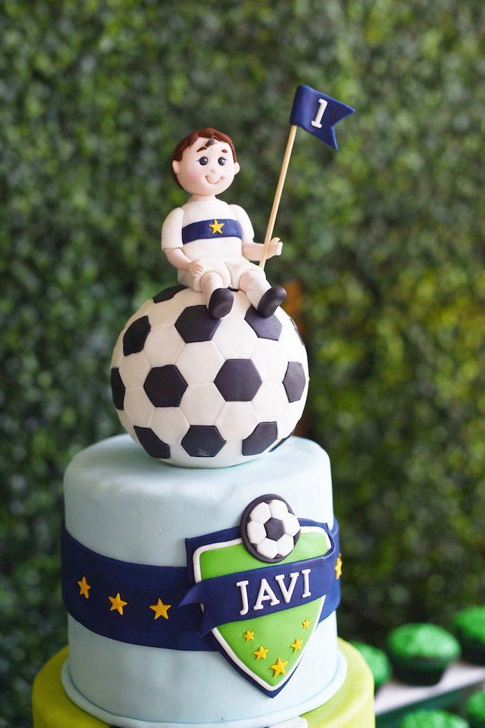 Soccer Themed Birthday Cake from a Backyard Soccer Birthday Party on Kara's Party Ideas | KarasPartyIdeas.com (18)