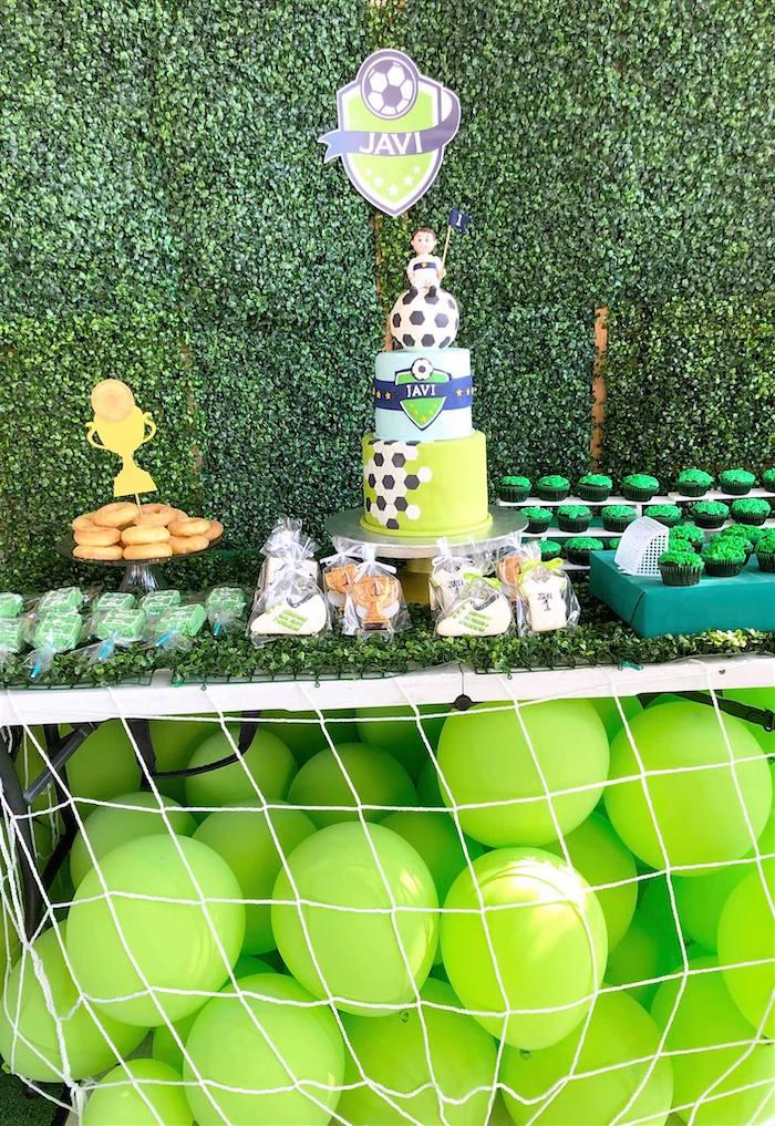 Soccer Themed Dessert Table from a Backyard Soccer Birthday Party on Kara's Party Ideas | KarasPartyIdeas.com (14)