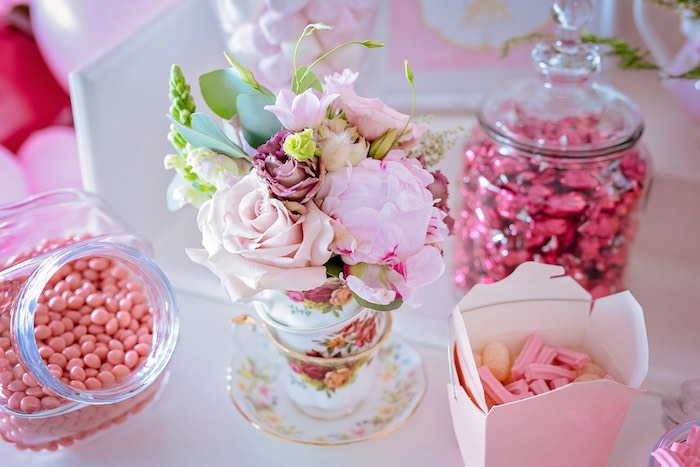 Tea Cup Floral Arrangement from a Ballerina Tea Party on Kara's Party Ideas | KarasPartyIdeas.com (33)
