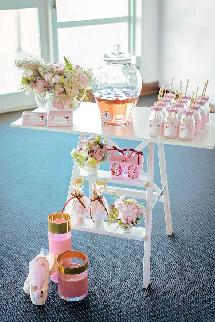 Beverage Table Ladder from a Ballerina Tea Party on Kara's Party Ideas | KarasPartyIdeas.com (31)