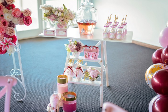 Beverage Table Ladder from a Ballerina Tea Party on Kara's Party Ideas | KarasPartyIdeas.com (30)