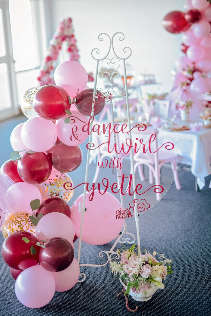 Acrylic Balloon Garland Sign from a Ballerina Tea Party on Kara's Party Ideas | KarasPartyIdeas.com (48)