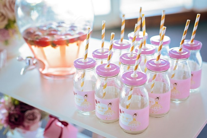 Ballerina-labeled Milk Bottles with Pink Lids from a Ballerina Tea Party on Kara's Party Ideas | KarasPartyIdeas.com (27)
