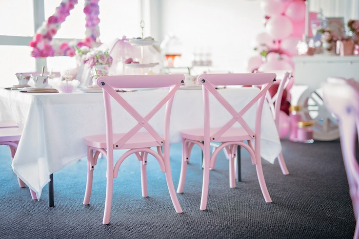 Pink Tea Table Chairs from a Ballerina Tea Party on Kara's Party Ideas | KarasPartyIdeas.com (24)