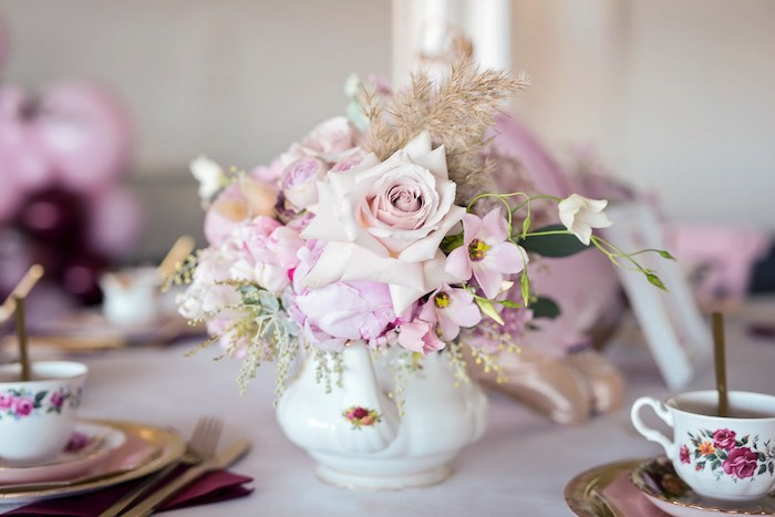 Tea Kettle Floral Arrangement from a Ballerina Tea Party on Kara's Party Ideas | KarasPartyIdeas.com (23)