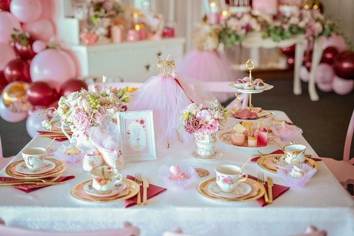 Tea Table from a Ballerina Tea Party on Kara's Party Ideas | KarasPartyIdeas.com (22)