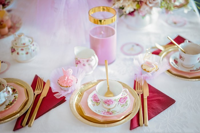 Tea Table Setting from a Ballerina Tea Party on Kara's Party Ideas | KarasPartyIdeas.com (19)