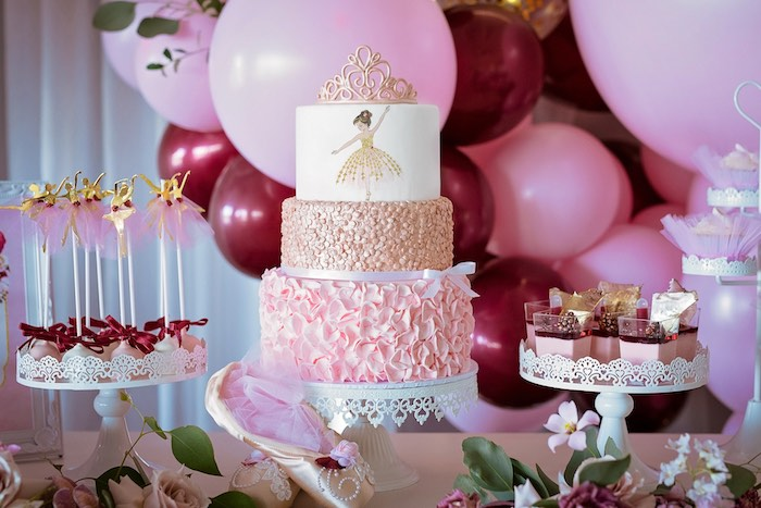 Ballerina Cake + Dessert Table from a Ballerina Tea Party on Kara's Party Ideas | KarasPartyIdeas.com (44)