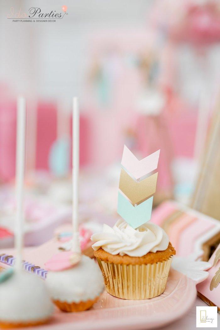 Arrow Cupcake from a Boho Chic Birthday Party on Kara's Party Ideas | KarasPartyIdeas.com (22)