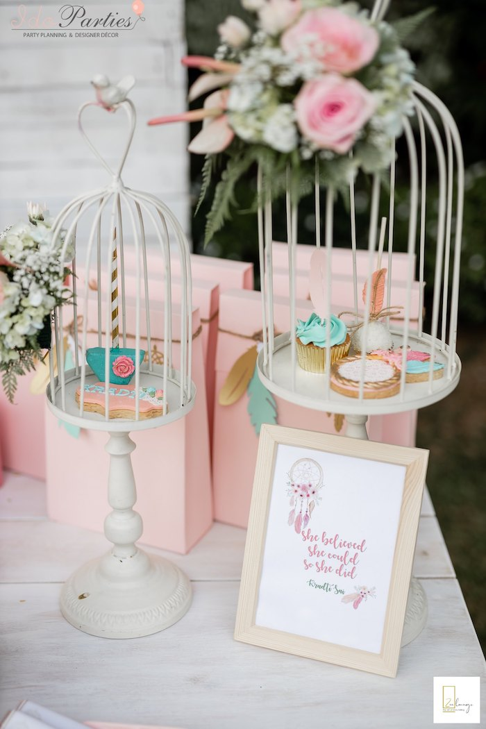 Bird Cage Dessert Pedestals from a Boho Chic Birthday Party on Kara's Party Ideas | KarasPartyIdeas.com (17)