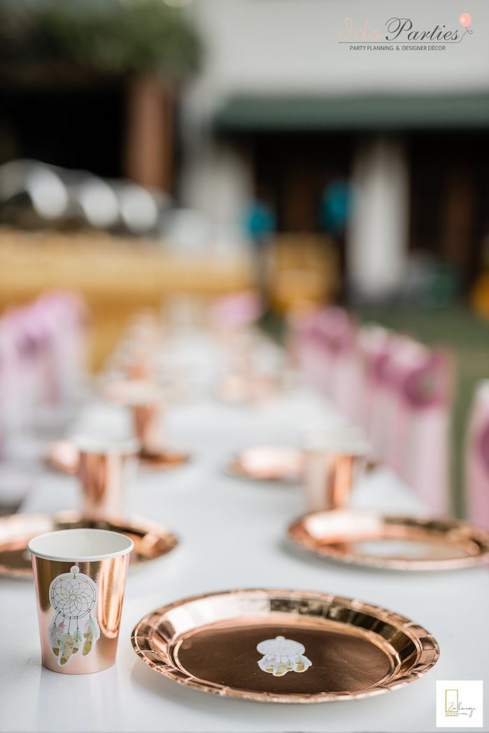 Copper Boho Table Setting from a Boho Chic Birthday Party on Kara's Party Ideas | KarasPartyIdeas.com (16)