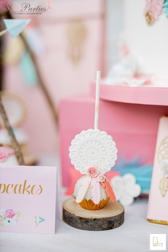 Dreamcatcher Cake Pop from a Boho Chic Birthday Party on Kara's Party Ideas | KarasPartyIdeas.com (15)