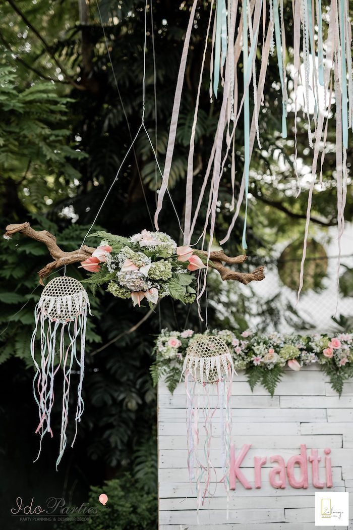 Boho Dreamcatcher & Bloom Chandelier from a Boho Chic Birthday Party on Kara's Party Ideas | KarasPartyIdeas.com (12)