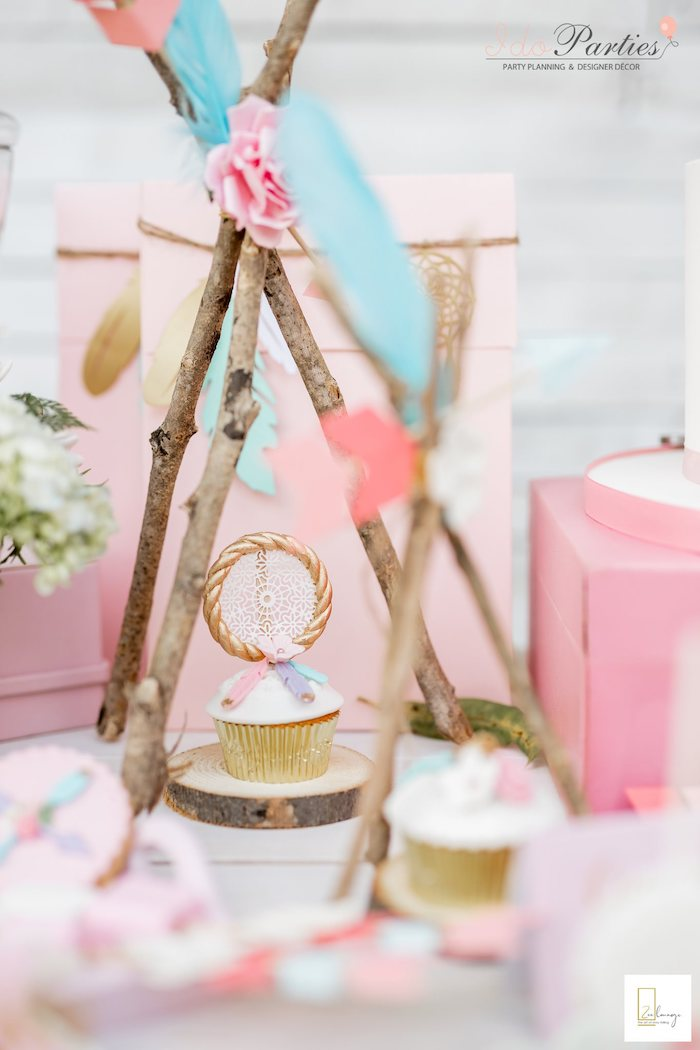 Twig Teepee Cupcake Pedestal from a Boho Chic Birthday Party on Kara's Party Ideas | KarasPartyIdeas.com (8)