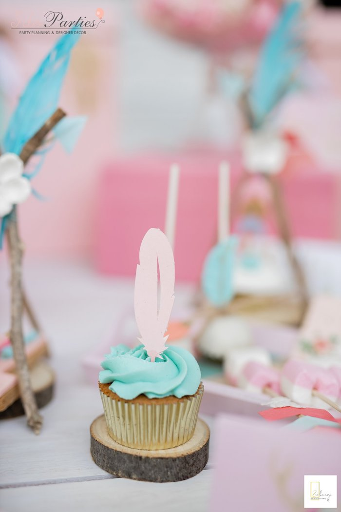 Feather Cupcake from a Boho Chic Birthday Party on Kara's Party Ideas | KarasPartyIdeas.com (5)