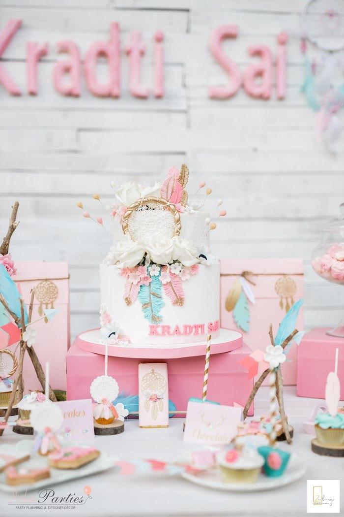 Boho Themed Dessert Table from a Boho Chic Birthday Party on Kara's Party Ideas | KarasPartyIdeas.com (4)
