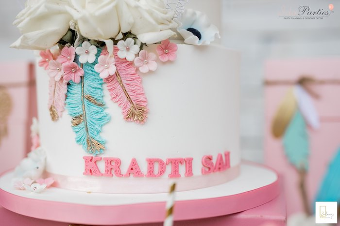 Boho Feather Cake Detail from a Boho Chic Birthday Party on Kara's Party Ideas | KarasPartyIdeas.com (32)