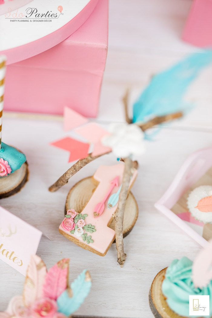 "Boho ""1"" Cookie from a Boho Chic Birthday Party on Kara's Party Ideas 