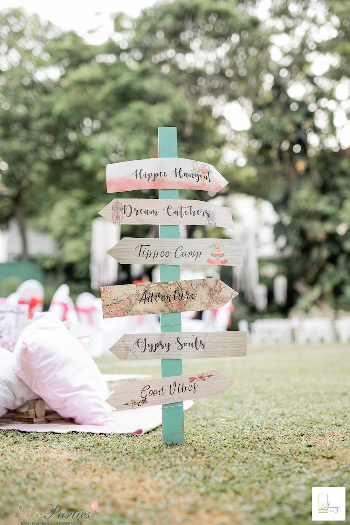 Boho Directional Sign from a Boho Chic Birthday Party on Kara's Party Ideas | KarasPartyIdeas.com (27)