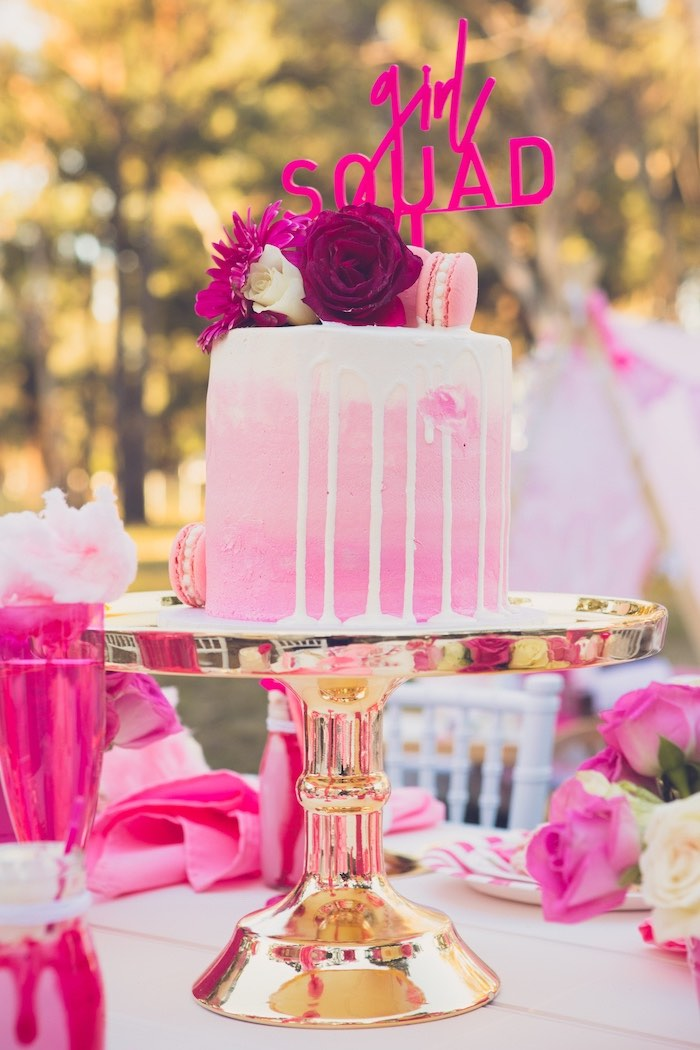 Pink + White Drip Cake from a Bright & Modern Glamping Birthday Party on Kara's Party Ideas | KarasPartyIdeas.com (30)