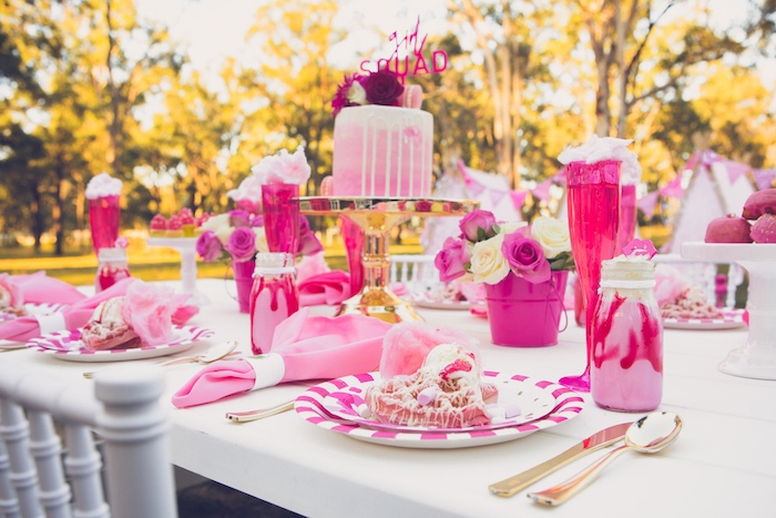 Pink + Gold Guest Table from a Bright & Modern Glamping Birthday Party on Kara's Party Ideas | KarasPartyIdeas.com (29)