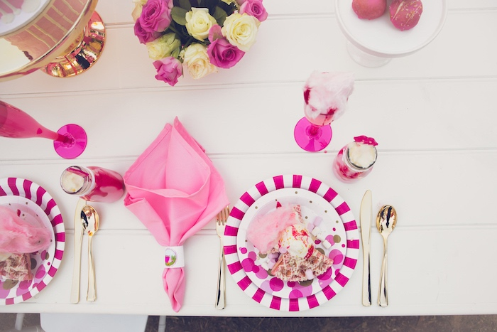 Pink + Gold Table Setting from a Bright & Modern Glamping Birthday Party on Kara's Party Ideas | KarasPartyIdeas.com (28)
