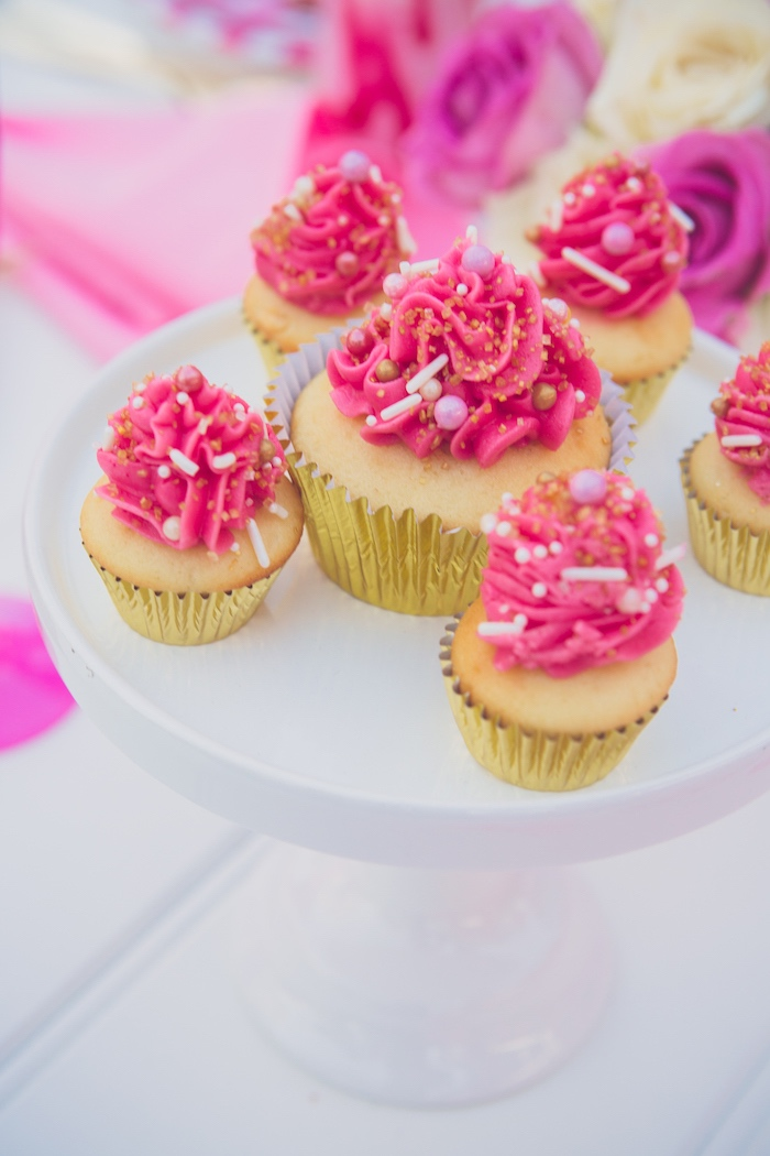 Glam Pink-iced Vanilla Cupcakes from a Bright & Modern Glamping Birthday Party on Kara's Party Ideas | KarasPartyIdeas.com (27)