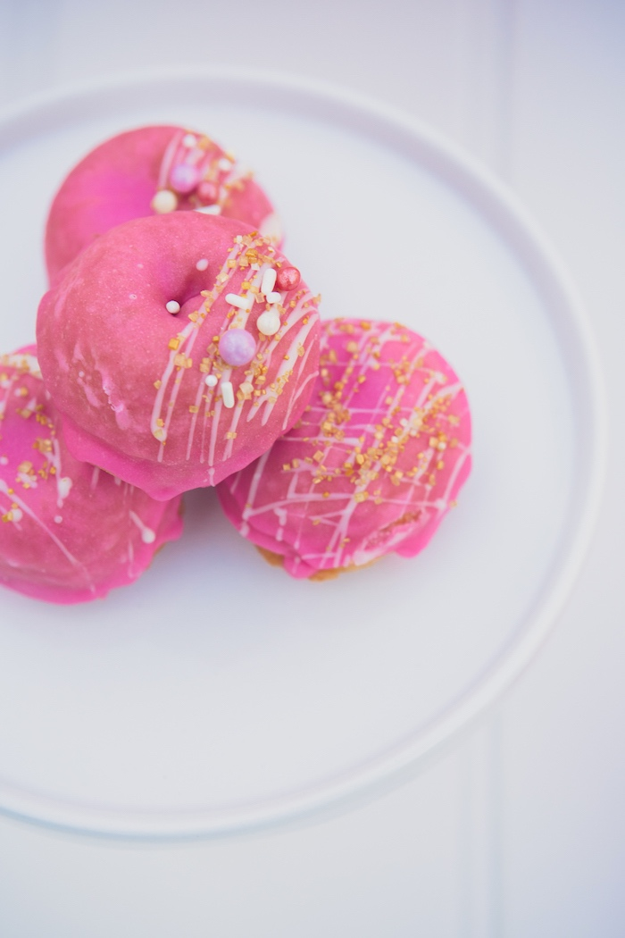 Pink Glam Doughnuts from a Bright & Modern Glamping Birthday Party on Kara's Party Ideas | KarasPartyIdeas.com (26)