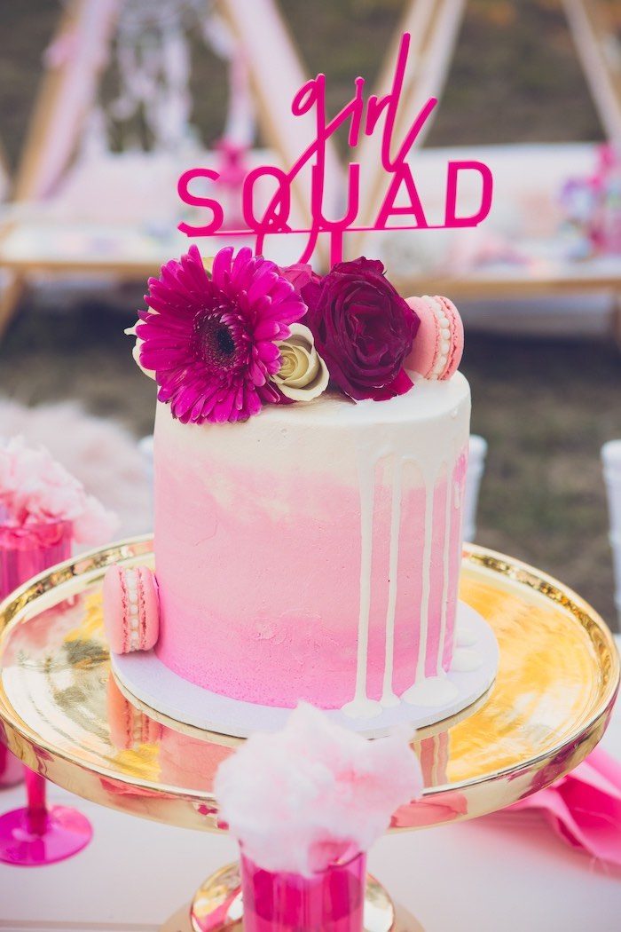 Girl Squad Drip Cake from a Bright & Modern Glamping Birthday Party on Kara's Party Ideas | KarasPartyIdeas.com (23)