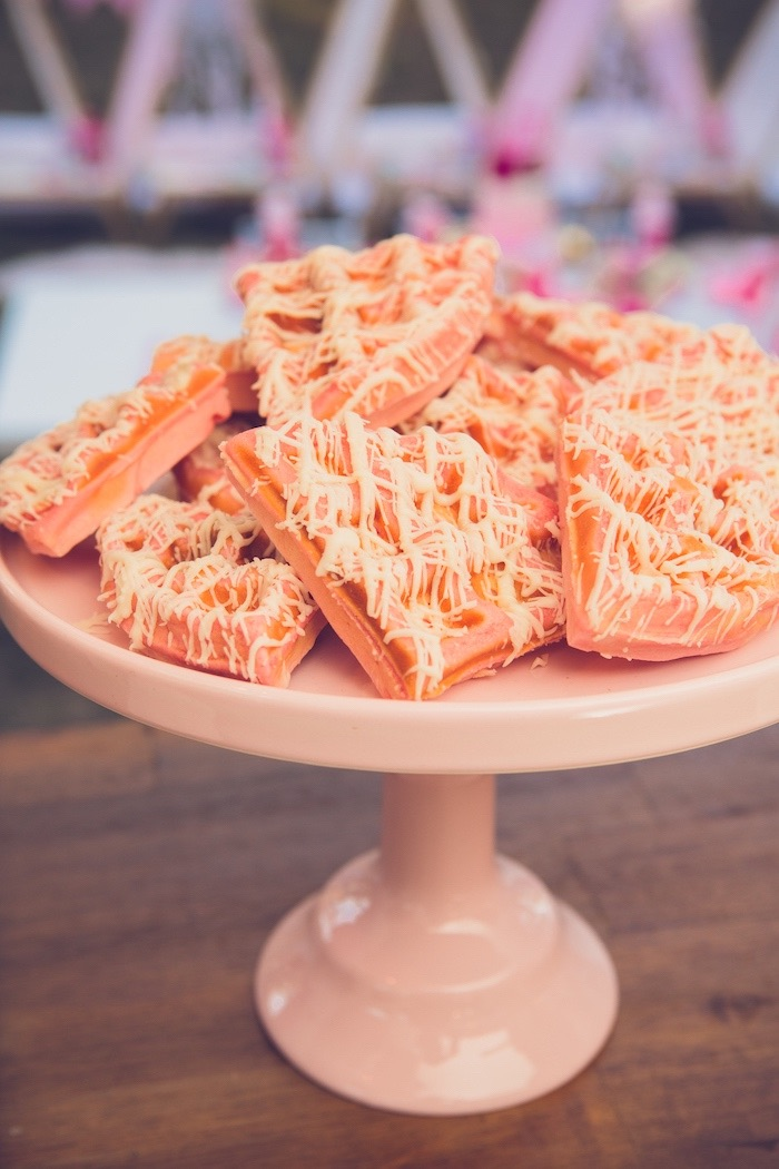 Pink Dessert Waffles from a Bright & Modern Glamping Birthday Party on Kara's Party Ideas | KarasPartyIdeas.com (20)