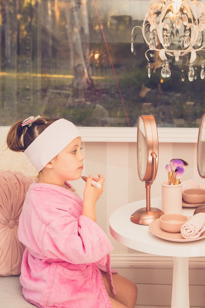 Makeup Mirror from a Bright & Modern Glamping Birthday Party on Kara's Party Ideas | KarasPartyIdeas.com (19)